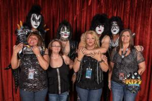 Rhonda, my cousin Shannon, and their friends Darlene and Allison with band members KISS on KISS KRUIZE 2013